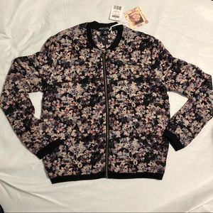 NWT About a Girl Sheer Floral Bomber Jacket